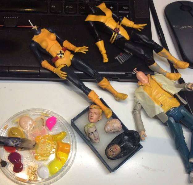 Painting New Mutants action figure customs in progress by Suzanne Forbes March 2019