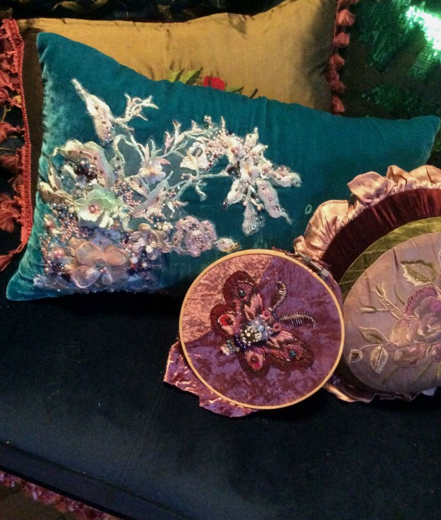 Bead embroidery pillow and work in progress by Suzanne Forbes Aug 1 2019