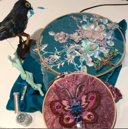 Bead embroidery work in progress by Suzanne Forbes Aug 1 2019
