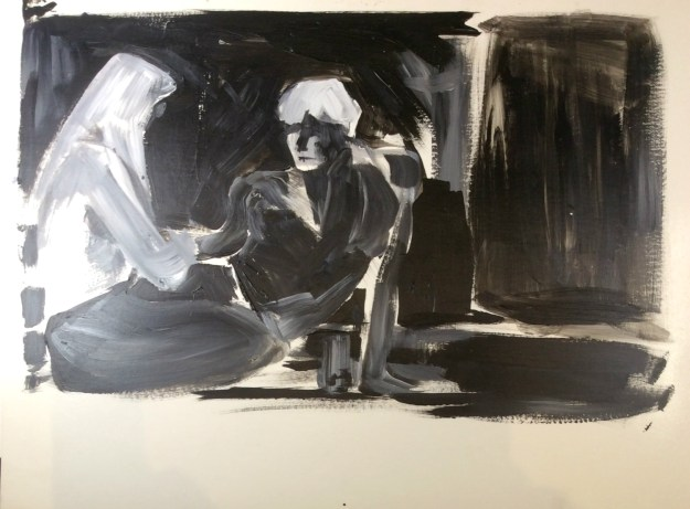 Me and Max seated acrylic on paper Fall 1990 Rachel Ketchum aka Suzanne Forbes