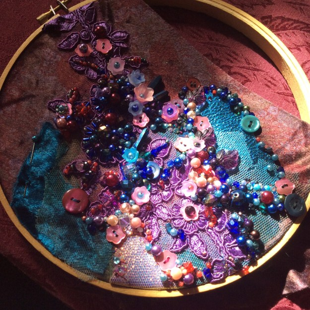 Jewel color bead embroidery WIP by Suzanne Forbes March 20 2020