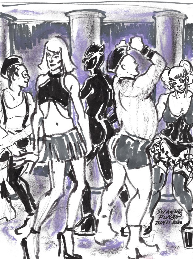 Torture Garden Dancers greyscale by Suzanne Forbes July 21 2020