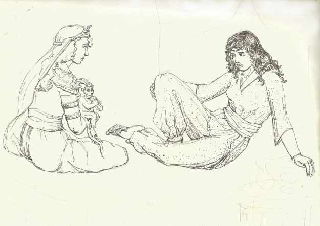 Aravis and Lasaraleen from from the Horse and his Boy after Pauline Baynes drawing prob mid 80s by Rachel Ketchum aka Suzanne Forbes
