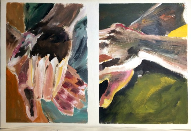 Hands acrylic on paper horizontal prob fall 1989 or early 1990 by Rachel Ketchum aka Suzanne Forbes