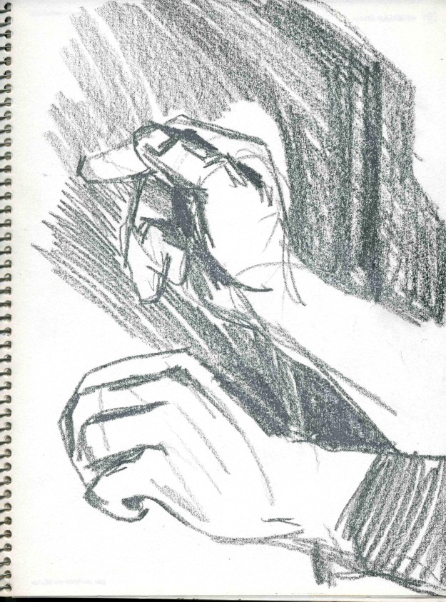 Sketchbook Winter 1990 Minneapolis hands 3 by Rachel Ketchum aka Suzanne Forbes