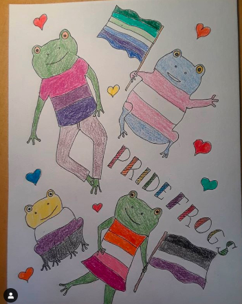 Pride frogs Art by Victoria Aronoff June 2020