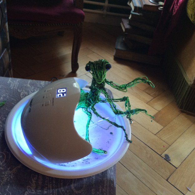 3d printer pen and UV resin Mantis Work in Progress by Suzanne Forbes