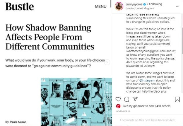 Paula Akpan on Shadow Bans via Curvy Nyome