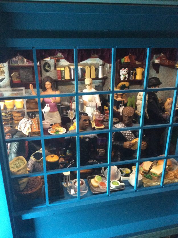Cafe Morgana dollhouse miniature coffee roastery window by Suzanne Forbes June 2021