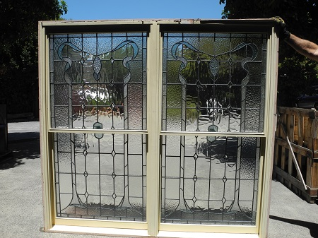 original secondhand double double hung leadlight windows