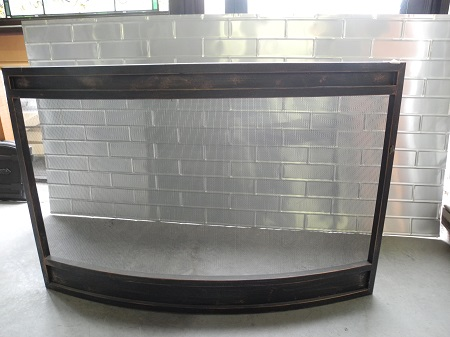 fireplace firescreen new 3- 4 panel sloped metal screen domed round solid heavy