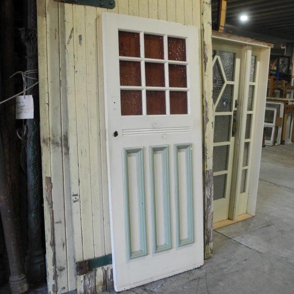 original sydney original secondhand edwardian 1920s front door multi lite panel inset glass colored coloured colour