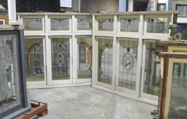 PairTriple Casement Leadlight Windows with Fanlights