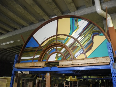 original secondhand large leadlight curved windows