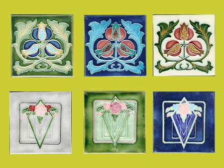 new reproduction ceramic victorian federation art nouveau tiles porteous 6x6 tiles
