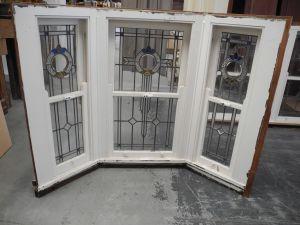 antique second hand original triple casement lead light window