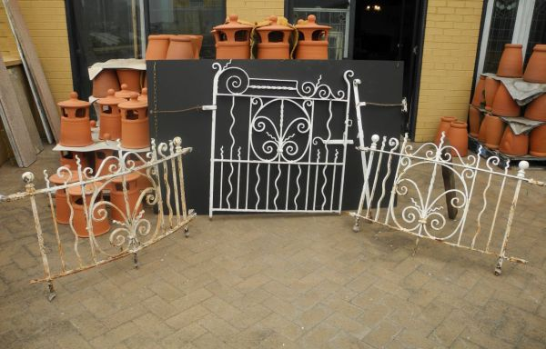 Wrought Iron Fencing Panels with Driveway and Pedestrian Gates