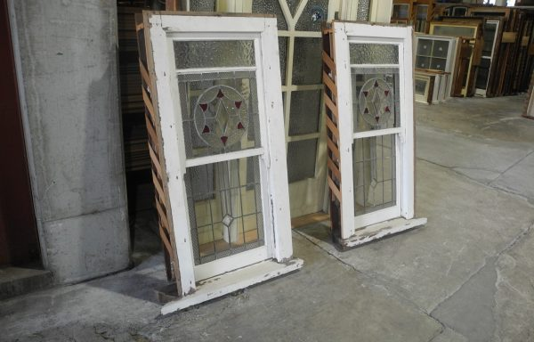 Pair of Double Hung Lead light Windows 026