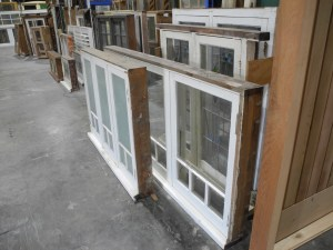 pair low casement windows one obscure one clear