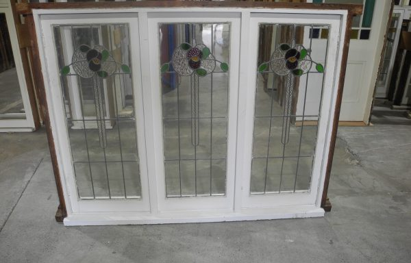 Triple Casement Art Nouveau Lead light Window  040