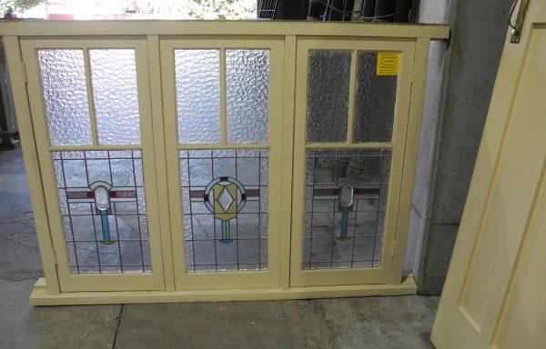 Original Lead light Triple Casement Window  040