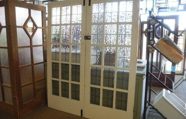 Pair 1920 s Multi lite French Doors   051