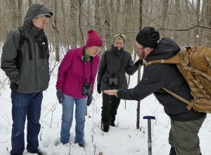 Mike shows how to tell deer scat from rabbit scat