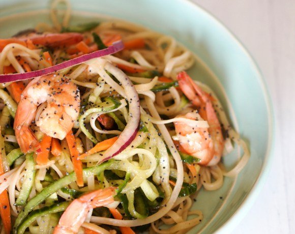 Shrimp and Veggie Salad with Brown Rice Noodles
