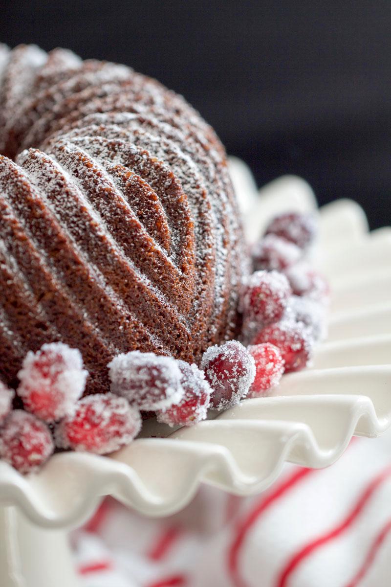 Gingerbread Cake + Sugared Cranberries - chipsandpepper.com