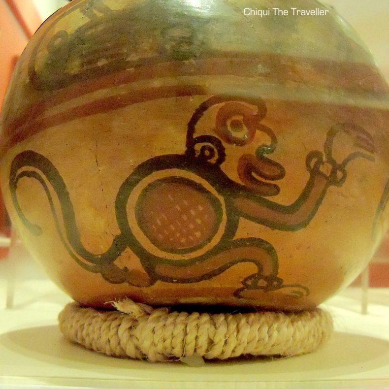 Ceramica precolombina-dibujo de mono-El Salvador-Joya de Ceren