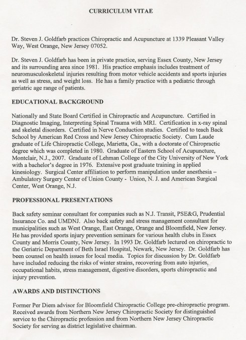 Dr. Steven Goldfarb's Curriculum Vitae