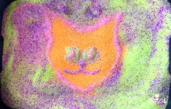 neon cat litter art