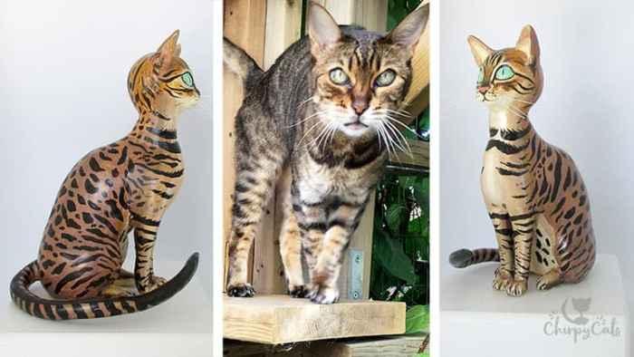 cat sculpture cold porcelain