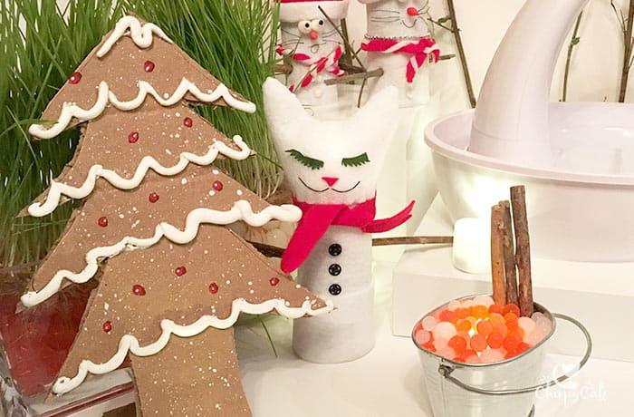 Cardboard gingerbread Christmas tree for water fountain display