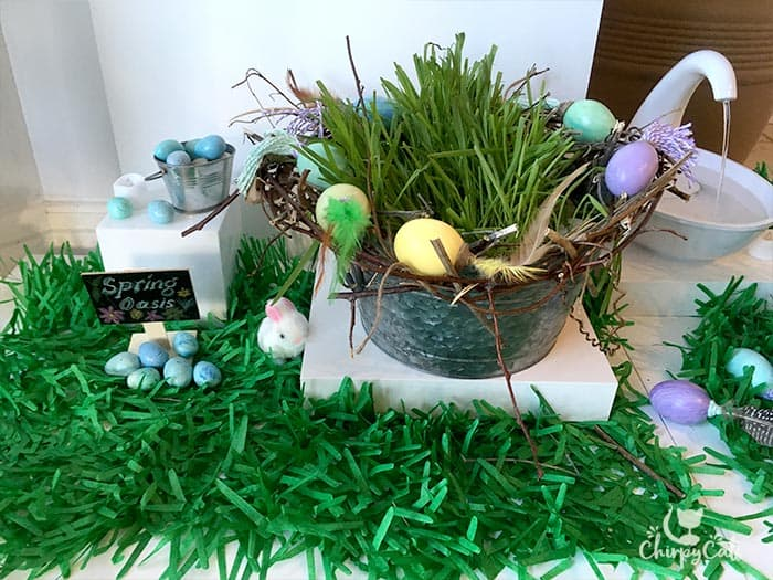 A cat grass basket surrounded by a bird's nest of easter egg cat toys
