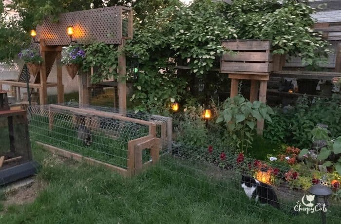 night time view of outdoor catio bridge with solar lights