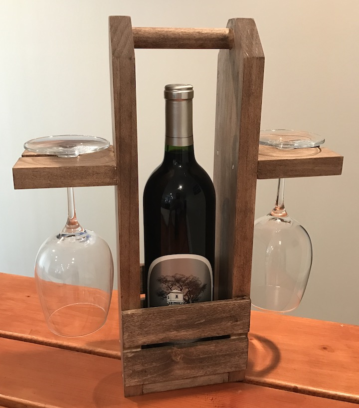 two glass wine caddy on table