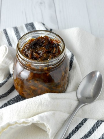 close-up of bacon jam in jar