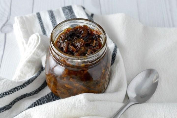 close-up of bacon jam recipe in jar