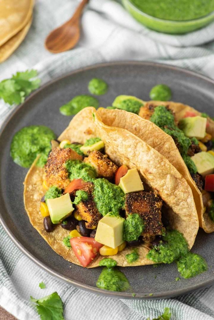 tofu tacos on slate gray plate