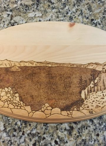 pyrography art of Crater Lake