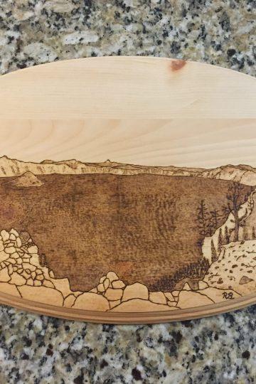 pyrography art of Crater Lake