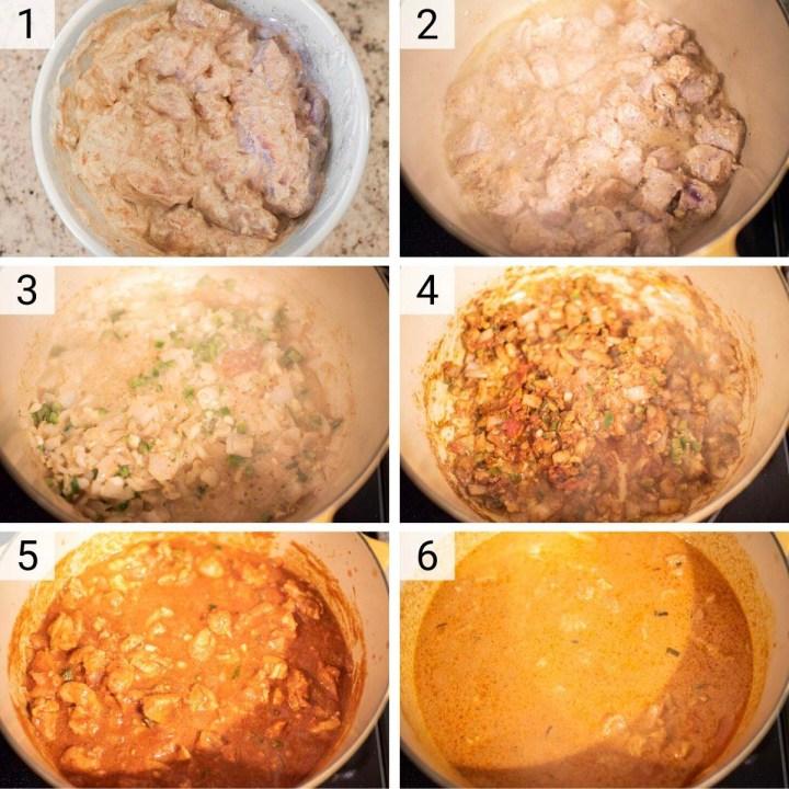 process shots of how to make chicken tikka masala