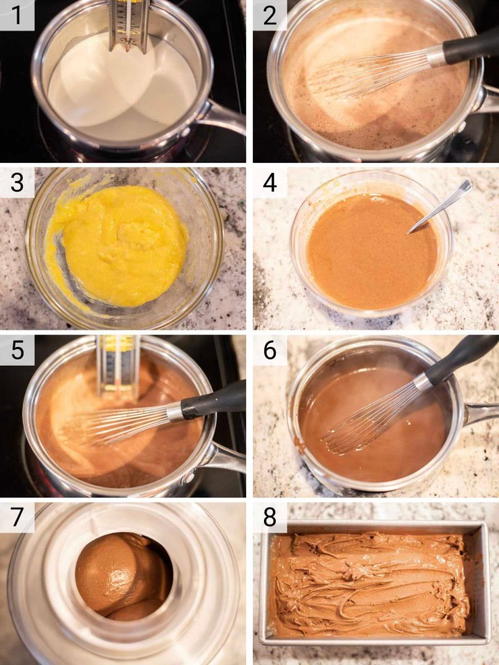 process shots of how to make gelato