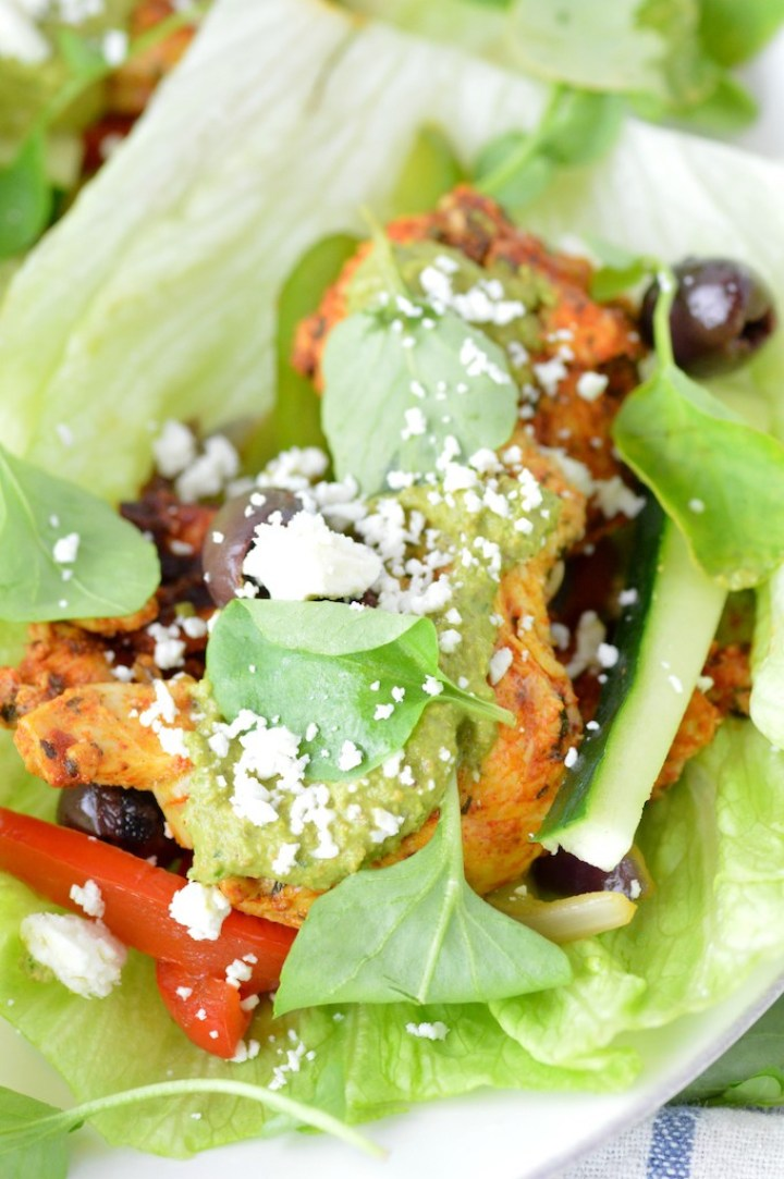 close-up of Greek chicken lettuce wraps