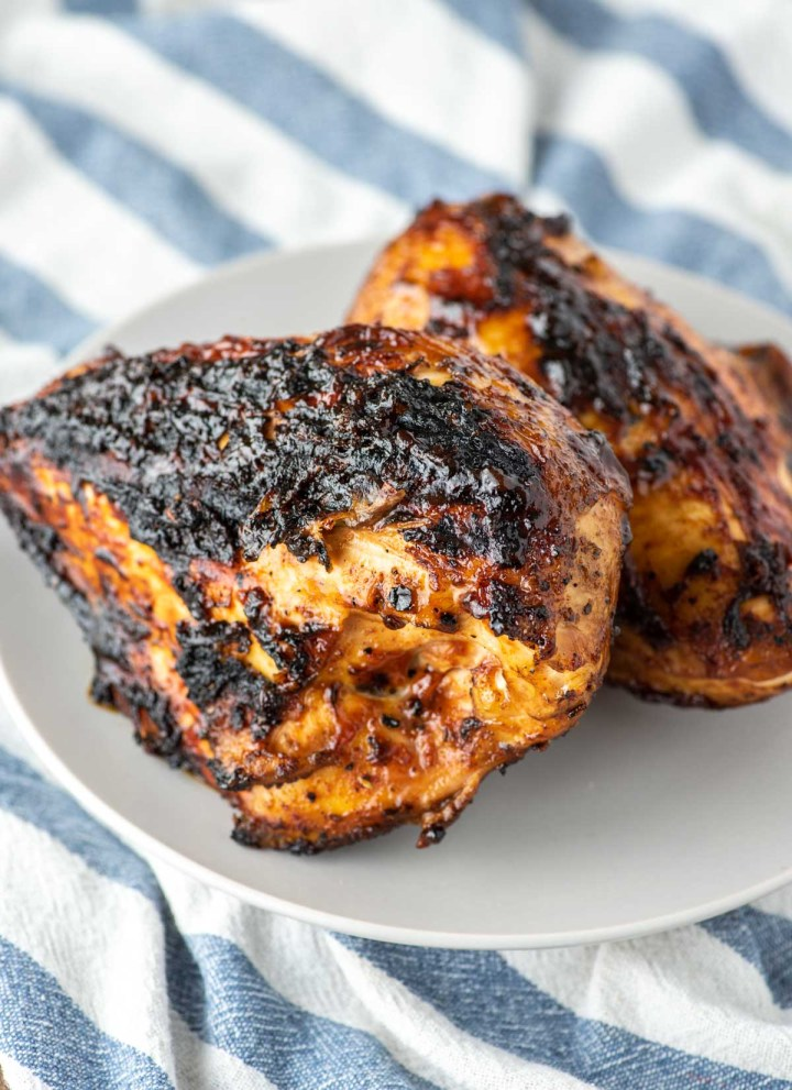 grilled BBQ chicken on plate