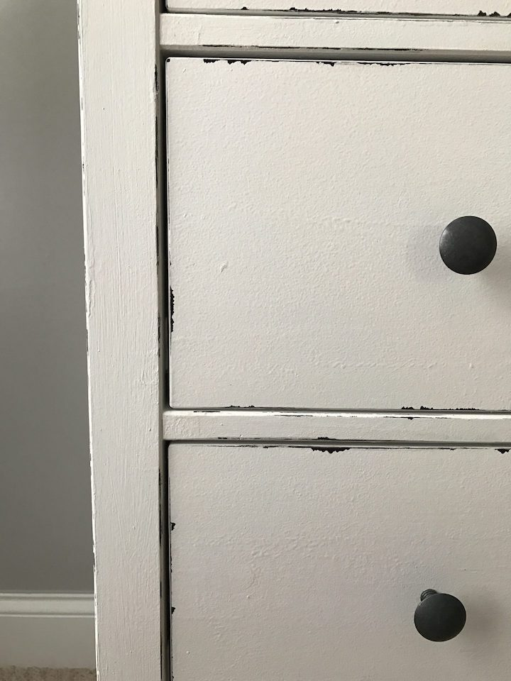 close-up of distressed look of reinvented IKEA dresser hack