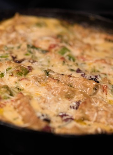 close-up of Mediterranean lasagna in skillet