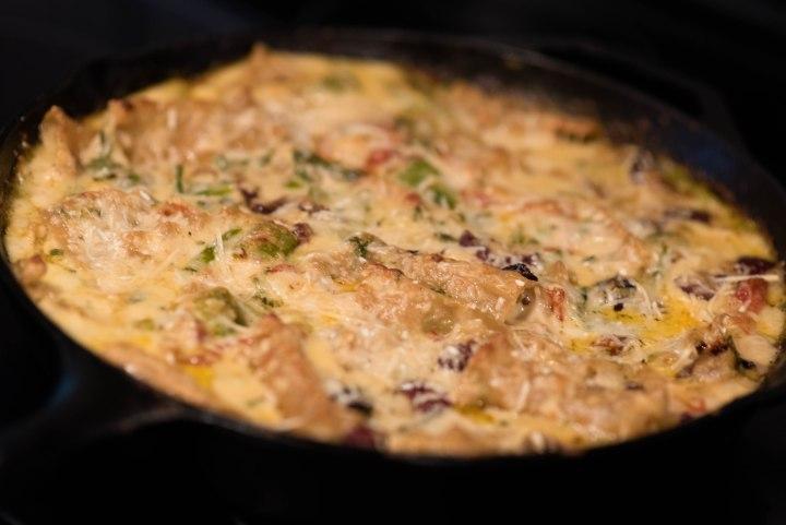 close-up of Mediterranean lasagna in skillet