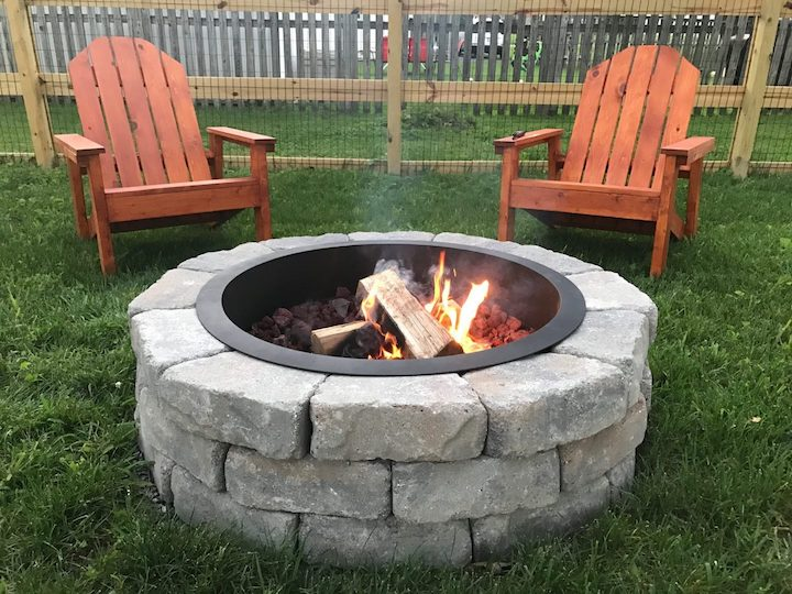 DIY Fire Pit with 2 Adirondack chairs